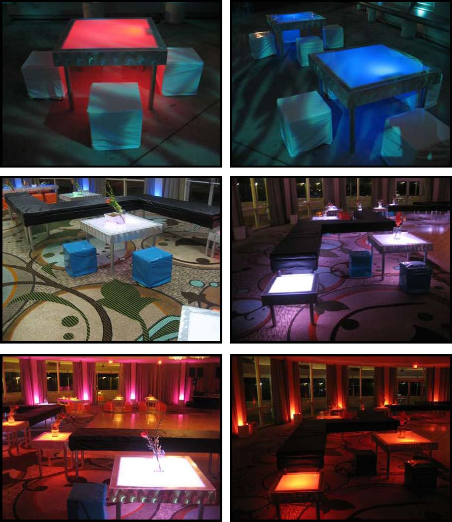 ILLUMINATED LED tables 3 ft. x 3 ft.